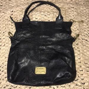 Fossil Long Live Vintage Key Black Leather Purse